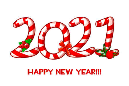 Vector greeting card or poster of Happy New Year 2021 with candy.
