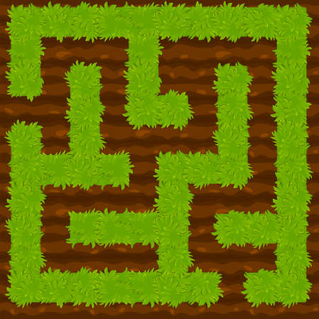 Education logic game bush on ground labyrinth for kids. Isolated simple square maze.