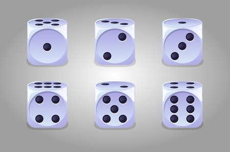 Vector collection of isolated game white dice.