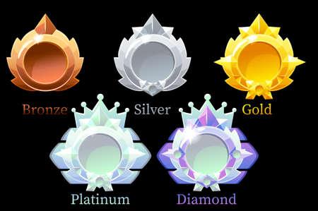 Vector awards medals gold, silver, bronze, platinum and diamond. Ilustración de vector