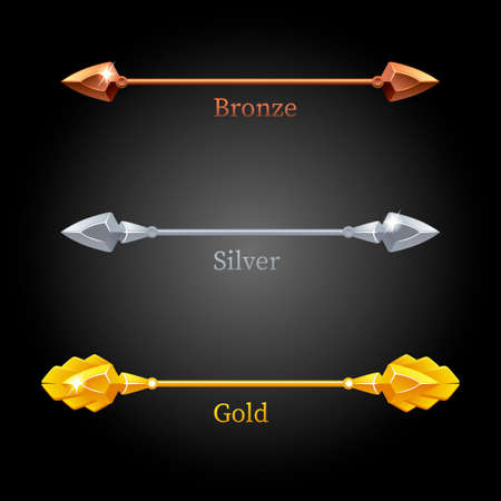 Gold, silver, bronze spears for the flag.