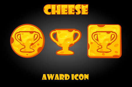 Cheese buttons with a reward icon for the game.
