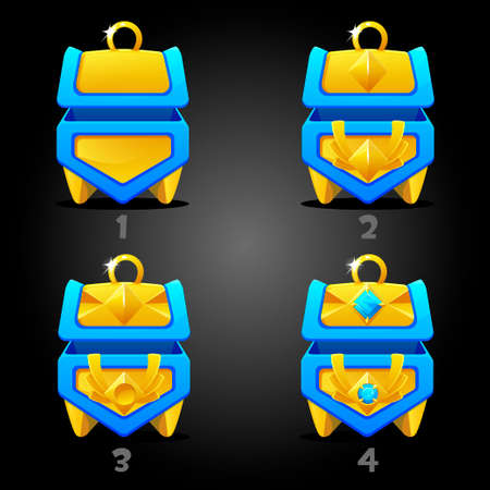 Blue treasure chests rating for games. 4 step rating 矢量图像