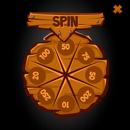 Old round wooden wheel of fortune with numbers.