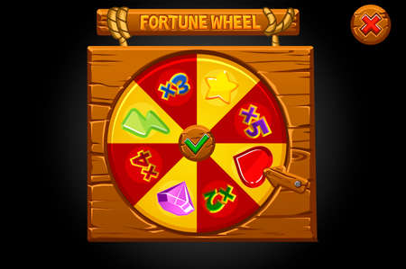 Wooden banner spin the wheel of fortune.