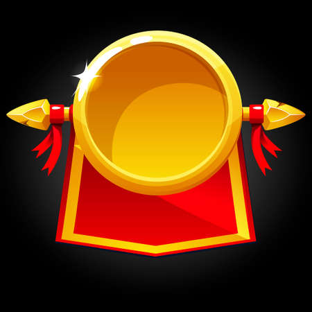 Gold round blank template and red flag.