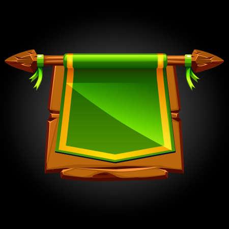 Green flag on a wooden old broken board. 일러스트
