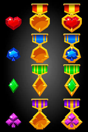 Constructor of symbols of game cards for creating a medal. 矢量图像