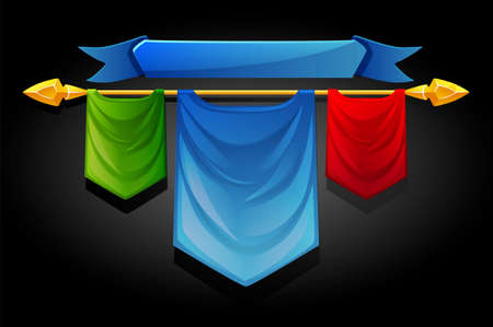 Multicolored flags templates banners for ui games. Vector set of bright fabric signs on a gold spear. 矢量图像