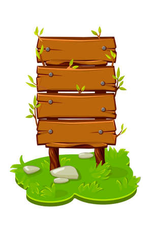 Wooden banner from panels on a cartoon island with grass. Vector illustration of a board template with nails for the game.