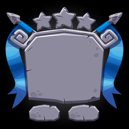 Stone board user interface with stars of achievement for the game.