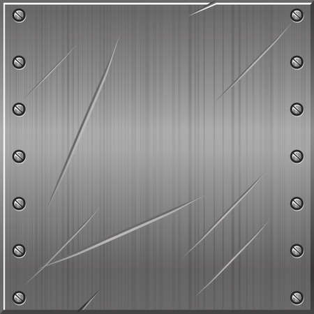 Seamless metallic gray old background with nails. Vector illustration of a textured metal pattern.