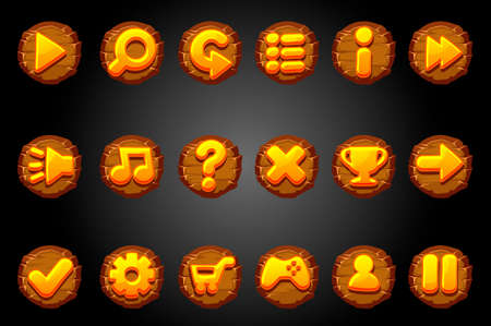 Wooden round buttons for the game GUI. Vector set of signs of app icons for the menu.