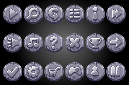 Round old stone buttons for game GUI. Vector set of signs app icons for user interface. 矢量图像