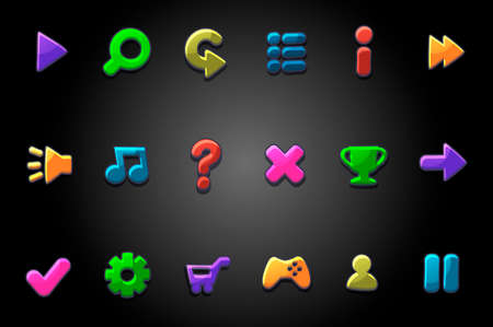 Colored bright round buttons for the game. Vector set of multicolored icons of signs GUI menu.