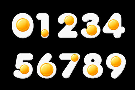 Cartoon font eggs, funny numbers for school. Vector illustration of a set of children figurines with a yolk. 矢量图像