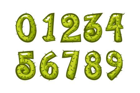 Cartoon cactus font kids numbers for school. Vector set of green nature figures of plants.