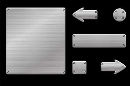 Metallic gray user interface and game buttons. Vector illustration of iron menu template for the game.