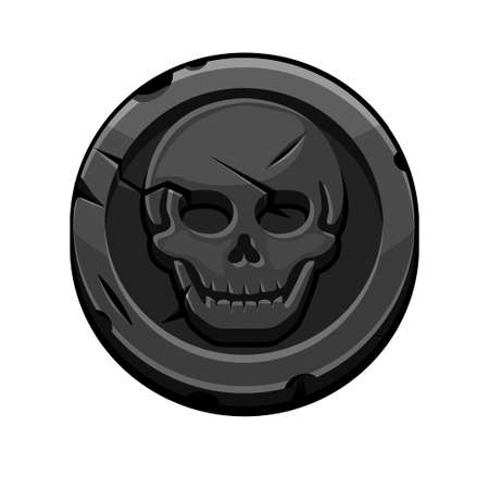 Pirate black round mark or coin for Game.
