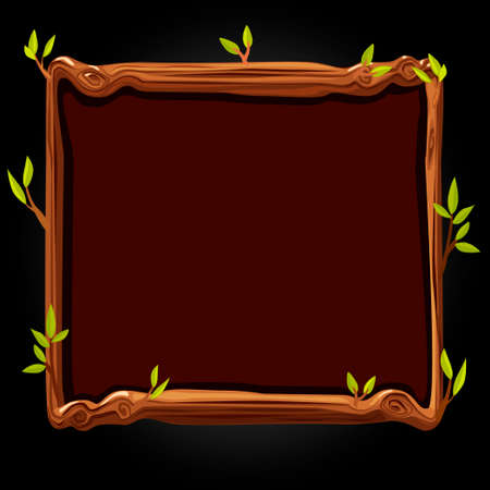 Wooden brown board with leaves for the game.