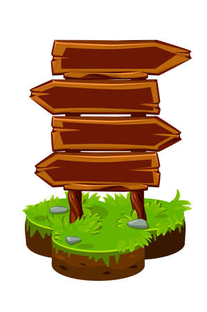 Wood sign board, wooden panels on isometric island.