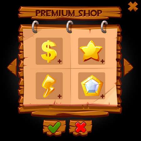 Wooden pop-up window premium shop for games.