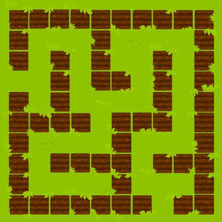 Labyrinth Education logic game, garden beds ground. 矢量图像