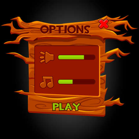 Wooden UI pop-up window options for the game.