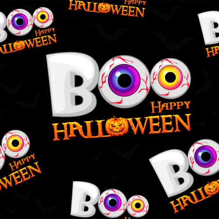 Boo seamless pattern, texture of happy halloween. Vector illustration of a scary background with eyes for a postcard.