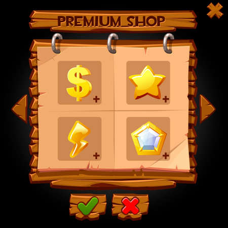 Wooden pop-up window premium shop for games. Vector illustration of a blackboard with icons for shopping.