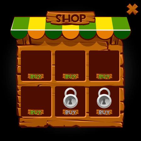 Wooden pop-up window banner shop for games. Vector illustration of shop, buy, lock icons.