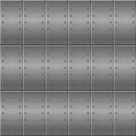 Seamless metallic background, metal plates for design. Vector illustration of a stainless steel texture, repeating in a row.