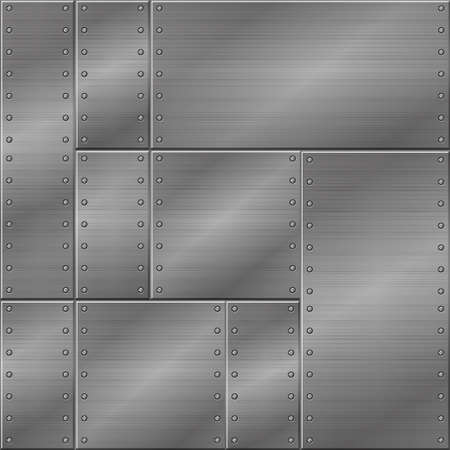 Seamless metal texture, iron plates for graphic design. Vector background illustration, construction of metal and nails.