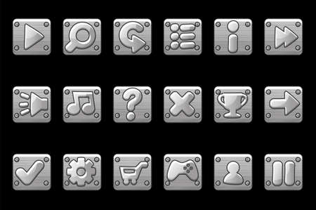 Square metallic gray buttons for game GUI. Vector set of signs app icons for user interface.