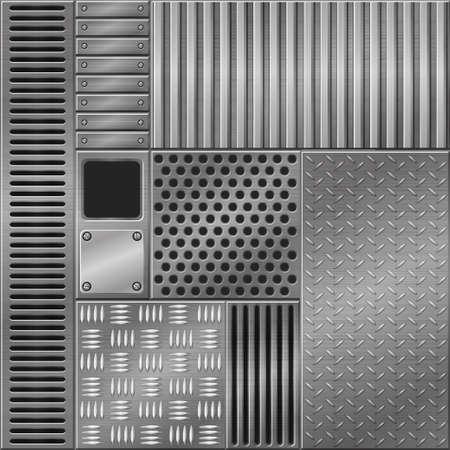 Metallic textured backgrounds, different graphic design patterns. 矢量图像