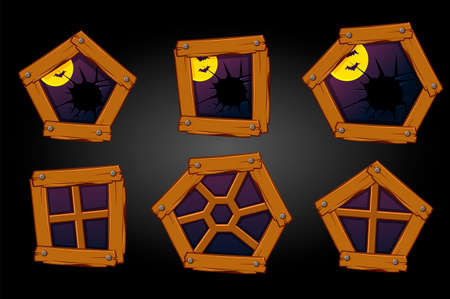 Cartoon wooden windows, and broken, Halloween scary view. 矢量图像