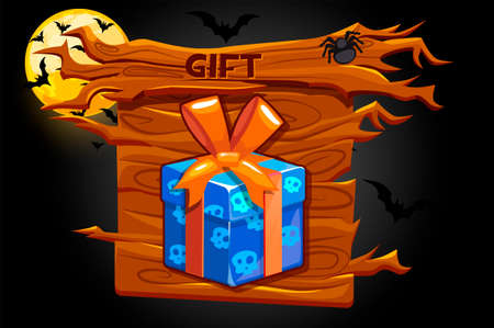 Game gift icon, wooden banner and halloween illustrations.