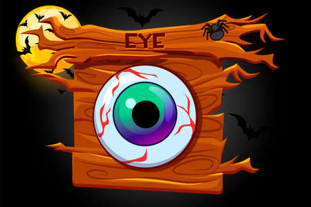 Game eyes icon, wooden banner and scary night. Vectores