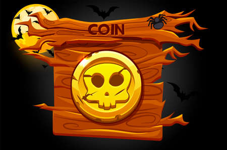 Game coin icon, scary skull on wooden banner.
