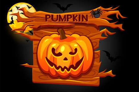 Halloween pumpkin icon, wooden banner for game. Vectores