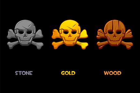 Pirate black mark, cartoon skull with bones. Vectores