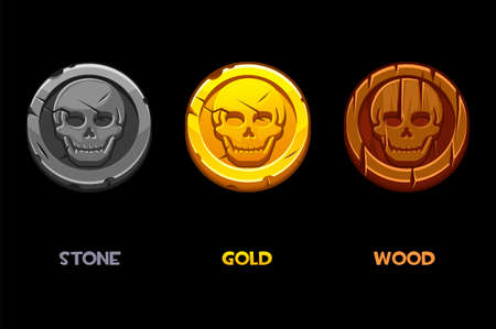 Pirate black mark, gold, wooden, stone coins with a skull.