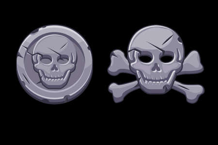 Pirate black mark, stone icons stone with skull. Vectores