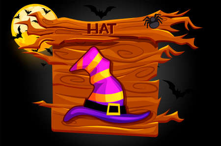 Game hat icon, wooden halloween banner and night background.