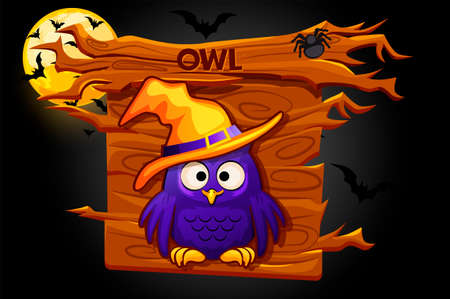 Owl game icon, wood banner for graphical user interface.