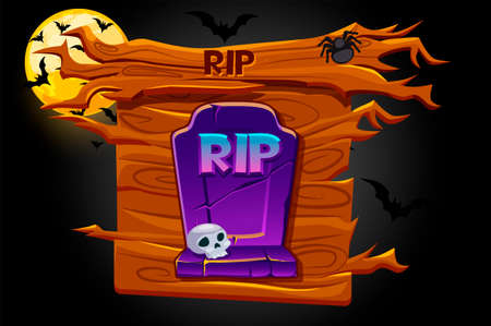 Game rip icon, wooden banner and scary night. Vectores