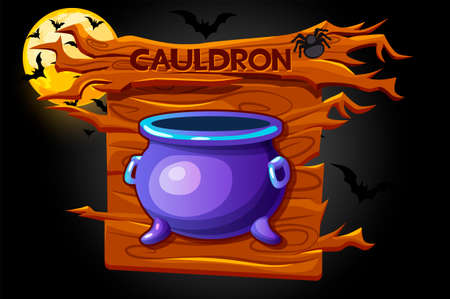 Cauldron game icon, halloween wooden banner and scary night. Vectores