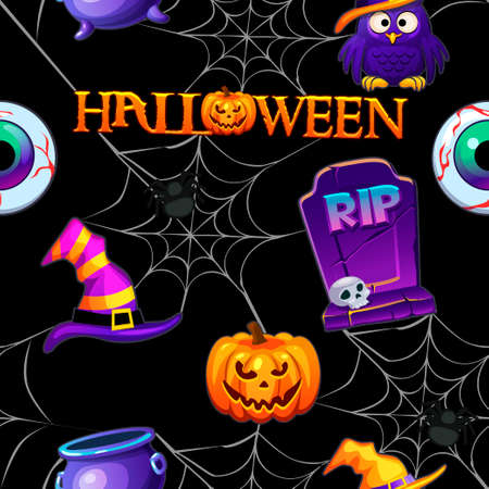 Halloween seamless pattern, black scary background with spiders.