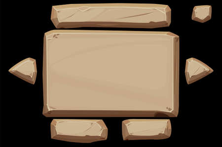 Stone panel banner with buttons for ui.