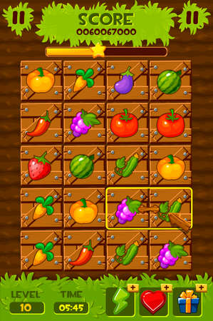 Game ui elements. 2d game icons and design elements. Vegetable Gardens, Field with wooden boxes and plants for the game match 3.